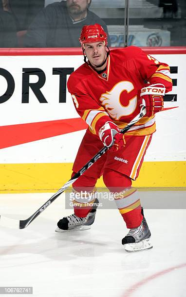 Ian White of the Calgary Flames skates against the Detroit Red Wings on November 3 2010 at the Scotiabank Saddledome in Calgary Alberta Canada The...