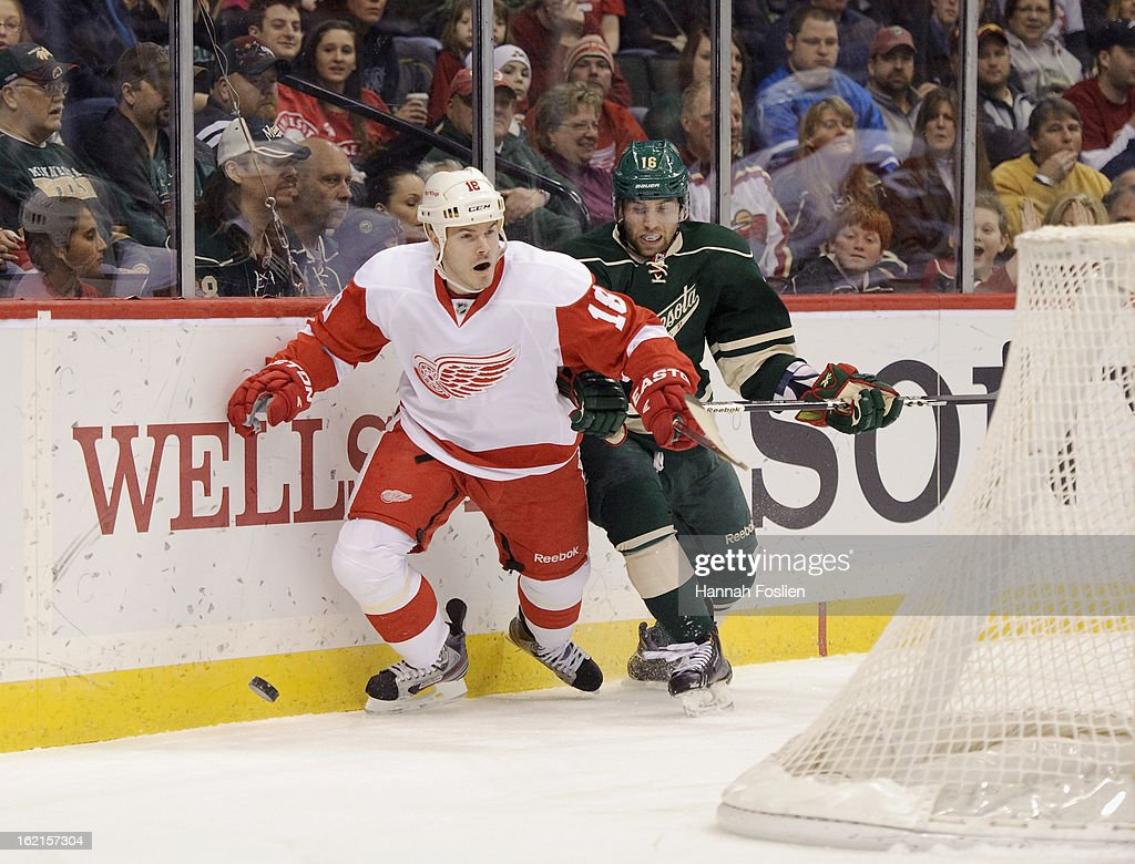 Ian White #18 of the Detroit Red Wings and Jason Zucker #16 of the Minnesota Wild go after the puck during the game on February 17, 2013 at Xcel Energy Center in St Paul, Minnesota.