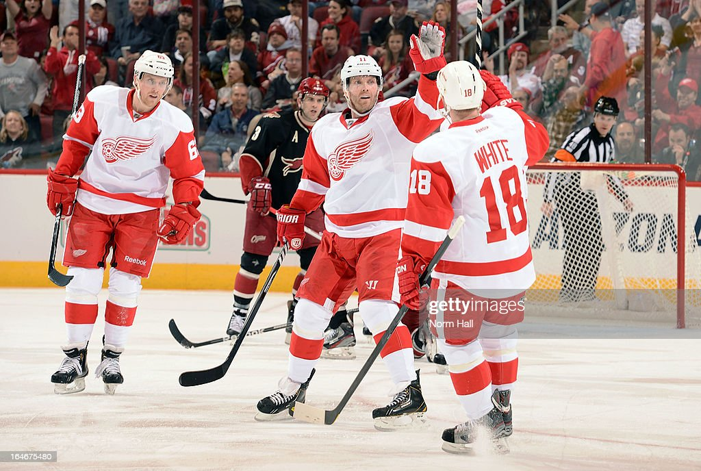 Ian White of the Detroit Red Wings is congratulated by teammate Daniel Cleary after his first period goal against the Phoenix Coyotes at Jobingcom...
