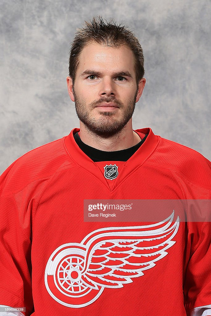 <a gi-track='captionPersonalityLinkClicked' href=/galleries/search?phrase=Ian+White&family=editorial&specificpeople=581742 ng-click='$event.stopPropagation()'>Ian White</a> #18 of the Detroit Red Wings poses for his official headshot for the 2012-2013 season at Compuware Ice Arena on January 13, 2013 in Plymouth, Michigan.