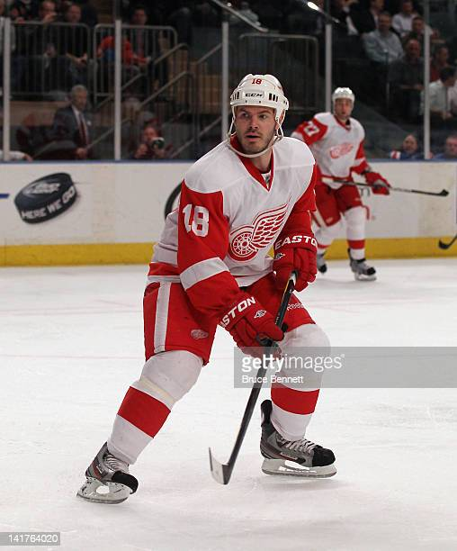 Ian White of the Detroit Red Wings skates against the New York Rangers at Madison Square Garden on March 21 2012 in New York City The Rangers...