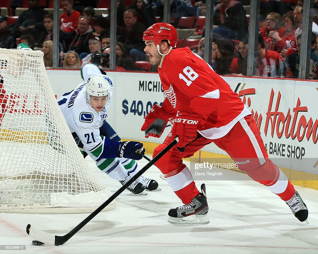 Ian White #18 of the Detroit Red Wings skates with the puck as Mason Raymond #21 of the Vancouver Canucks gives chase during a NHL game at Joe Louis Arena on February 24, 2013 in Detroit, Michigan.