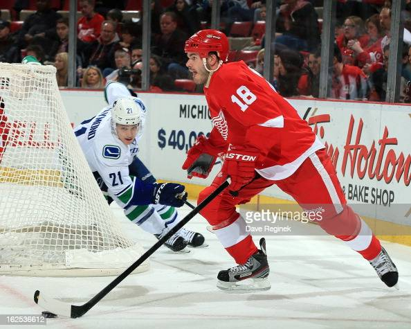 Ian White of the Detroit Red Wings skates with the puck as Mason Raymond of the Vancouver Canucks gives chase during a NHL game at Joe Louis Arena on...