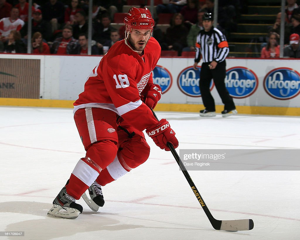 Ian White of the Detroit Red Wings skates with the puck during a NHL game against the St Louis Blues at Joe Louis Arena on February 13 2013 in...