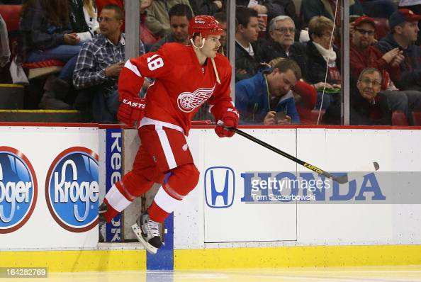 Ian White of the Detroit Red Wings steps out onto the ice before the start of their NHL game against the Minnesota Wild at Joe Louis Arena on March...