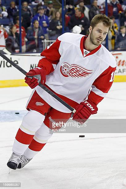 Ian White of the Detroit Red Wings warms up prior to the start of the game against the Columbus Blue Jackets on January 21 2013 at Nationwide Arena...