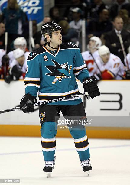 Ian White of the San Jose Sharks in action against the Calgary Flames at the HP Pavilion on March 23 2011 in San Jose California