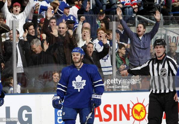 Ian White of the Toronto Maple Leafs celebrates his 2nd period goal against the Montreal Canadiens during their NHL game at the Air Canada Centre...