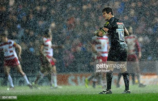 Ian Whitten of Exeter Chiefs looks on as the rain pours during the Aviva Premiership match between Exeter Chiefs and Gloucester Rugby at Sandy Park...