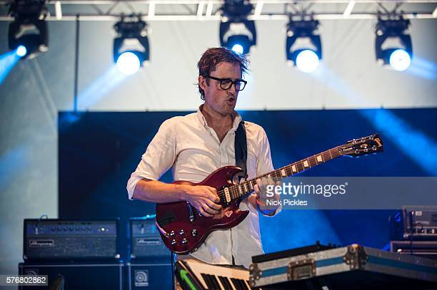 Ian Williams of Battles performs at Citadel Festival at Victoria Park on July 17 2016 in London England