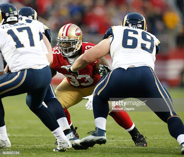 Ian Williams of the San Francisco 49ers defends during the game against the St Louis Rams at Levi Stadium on January 3 2016 in Santa Clara California...
