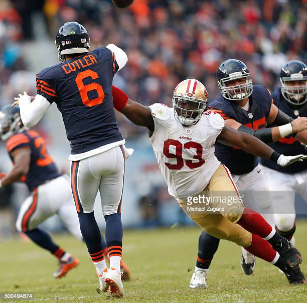 Ian Williams of the San Francisco 49ers pressures Jay Cutler of the Chicago Bears during the game at Soldier Field on December 6 2015 in Chicago...