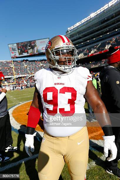Ian Williams of the San Francisco 49ers stands on the field prior to the game against the Chicago Bears at Soldier Field on December 6 2015 in...