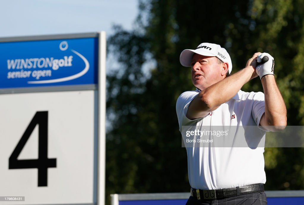 <a gi-track='captionPersonalityLinkClicked' href=/galleries/search?phrase=Ian+Woosnam&family=editorial&specificpeople=457974 ng-click='$event.stopPropagation()'>Ian Woosnam</a> of Wales hits a drive from the 4th tee during the second round on day two of the WINSTONgolf Senior Open played at WINSTONgolf on September 7, 2013 in Schwerin, Germany.