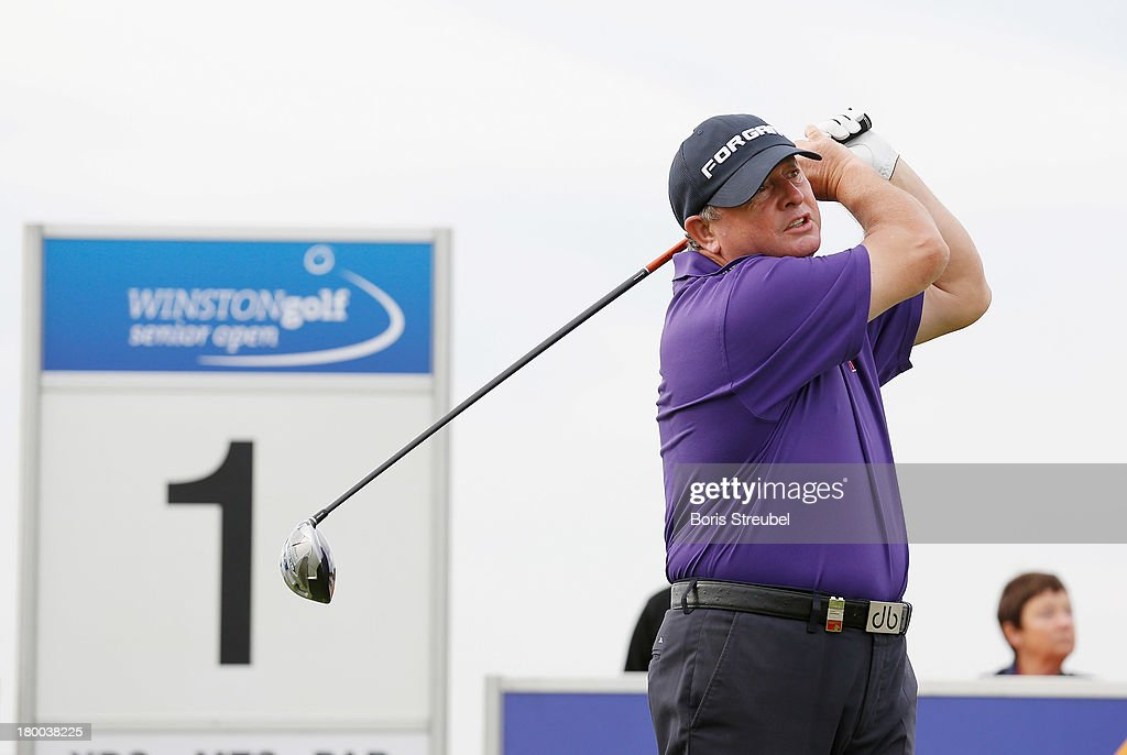 <a gi-track='captionPersonalityLinkClicked' href=/galleries/search?phrase=Ian+Woosnam&family=editorial&specificpeople=457974 ng-click='$event.stopPropagation()'>Ian Woosnam</a> of Wales hits a drive from the first tee during the final round on day three of the WINSTONgolf Senior Open played at WINSTONgolf on September 8, 2013 in Schwerin, Germany.