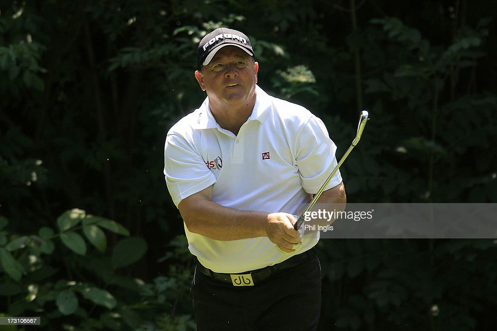 <a gi-track='captionPersonalityLinkClicked' href=/galleries/search?phrase=Ian+Woosnam&family=editorial&specificpeople=457974 ng-click='$event.stopPropagation()'>Ian Woosnam</a> of Wales in action during the final round of the Bad Ragaz PGA Seniors Open played at Golf Club Bad Ragaz on July 7, 2013 in Bad Ragaz, Switzerland.