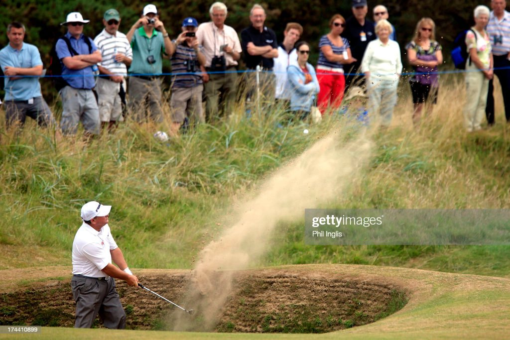 <a gi-track='captionPersonalityLinkClicked' href=/galleries/search?phrase=Ian+Woosnam&family=editorial&specificpeople=457974 ng-click='$event.stopPropagation()'>Ian Woosnam</a> of Wales in action during the first round of The Senior Open Championship played at Royal Birkdale Golf Club on July 25, 2013 in Southport, United Kingdom.