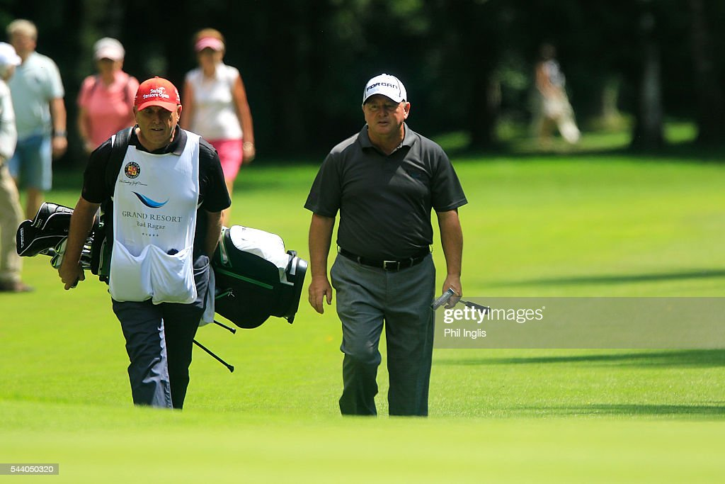 <a gi-track='captionPersonalityLinkClicked' href=/galleries/search?phrase=Ian+Woosnam&family=editorial&specificpeople=457974 ng-click='$event.stopPropagation()'>Ian Woosnam</a> of Wales in action during the the first round of the Swiss Seniors Open played at Golf Club Bad Ragaz on July 1, 2016 in Bad Ragaz, Switzerland.