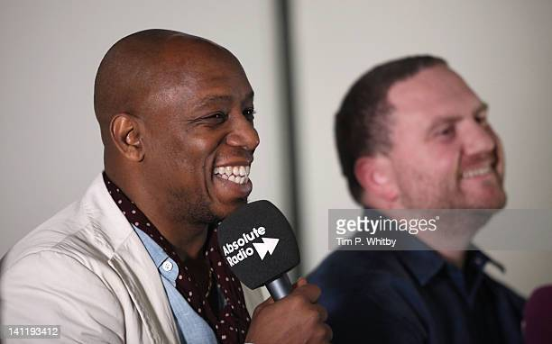 Ian Wright and Jim Proudfoot take part in a prematch analysis at the Absolute Radio 'Rock n Roll Football Lads Night In' at the Bobby Moore Suite...