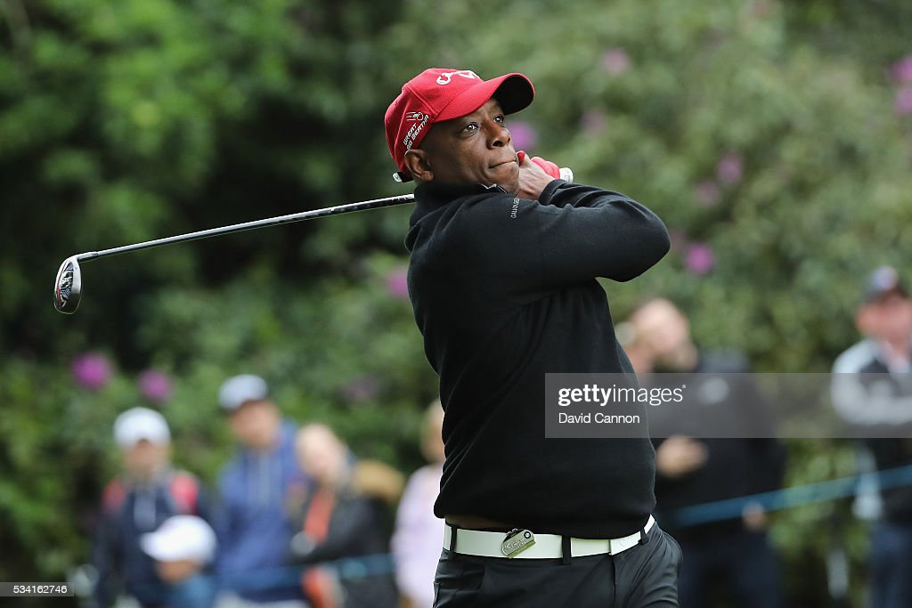 <a gi-track='captionPersonalityLinkClicked' href=/galleries/search?phrase=Ian+Wright&family=editorial&specificpeople=221321 ng-click='$event.stopPropagation()'>Ian Wright</a> in action during the Pro-Am prior to the BMW PGA Championship at Wentworth on May 25, 2016 in Virginia Water, England.