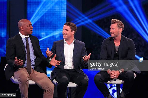 Ian Wright Michael Owen and Robbie Savage announce the winners of the inaugural Facebook Football Awards on May 26 2015 in London England
