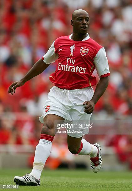 Ian Wright of Arsenal in action during the Dennis Bergkamp testimonial match between Arsenal and Ajax at the Emirates Stadium on July 22 2006 in...