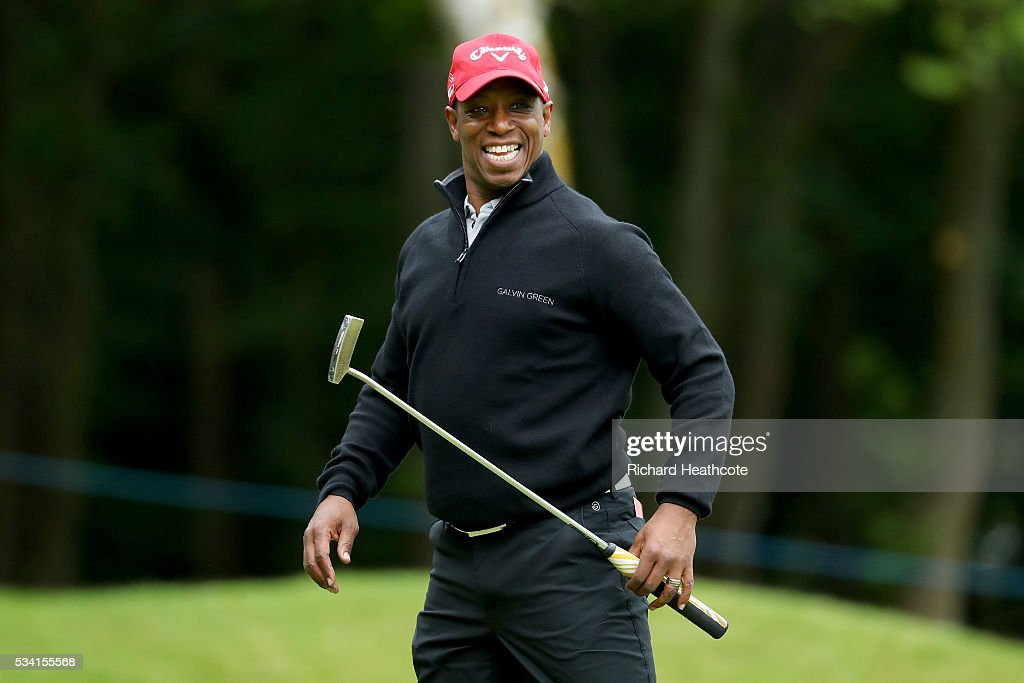 <a gi-track='captionPersonalityLinkClicked' href=/galleries/search?phrase=Ian+Wright&family=editorial&specificpeople=221321 ng-click='$event.stopPropagation()'>Ian Wright</a> reacts during the Pro-Am prior to the BMW PGA Championship at Wentworth on May 25, 2016 in Virginia Water, England.