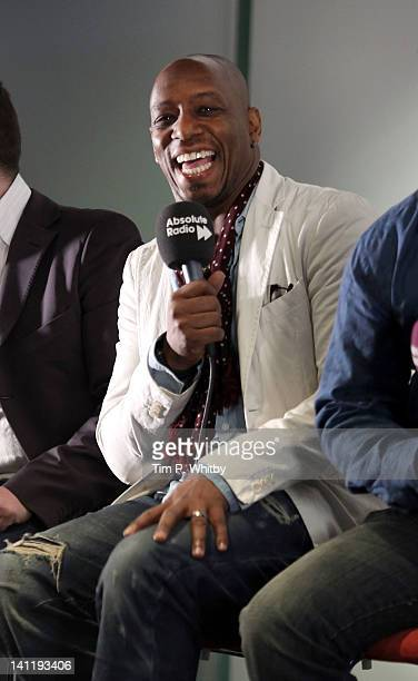 Ian Wright takes part in a prematch analysis at the Absolute Radio 'Rock n Roll Football Lads Night In' at the Bobby Moore Suite Wembley Stadium on...