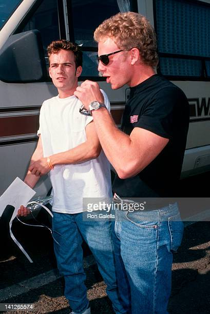 Ian Ziering and Luke Perry at the Reid Rondell Celebrity Car Race Saugus Speedway Saugus
