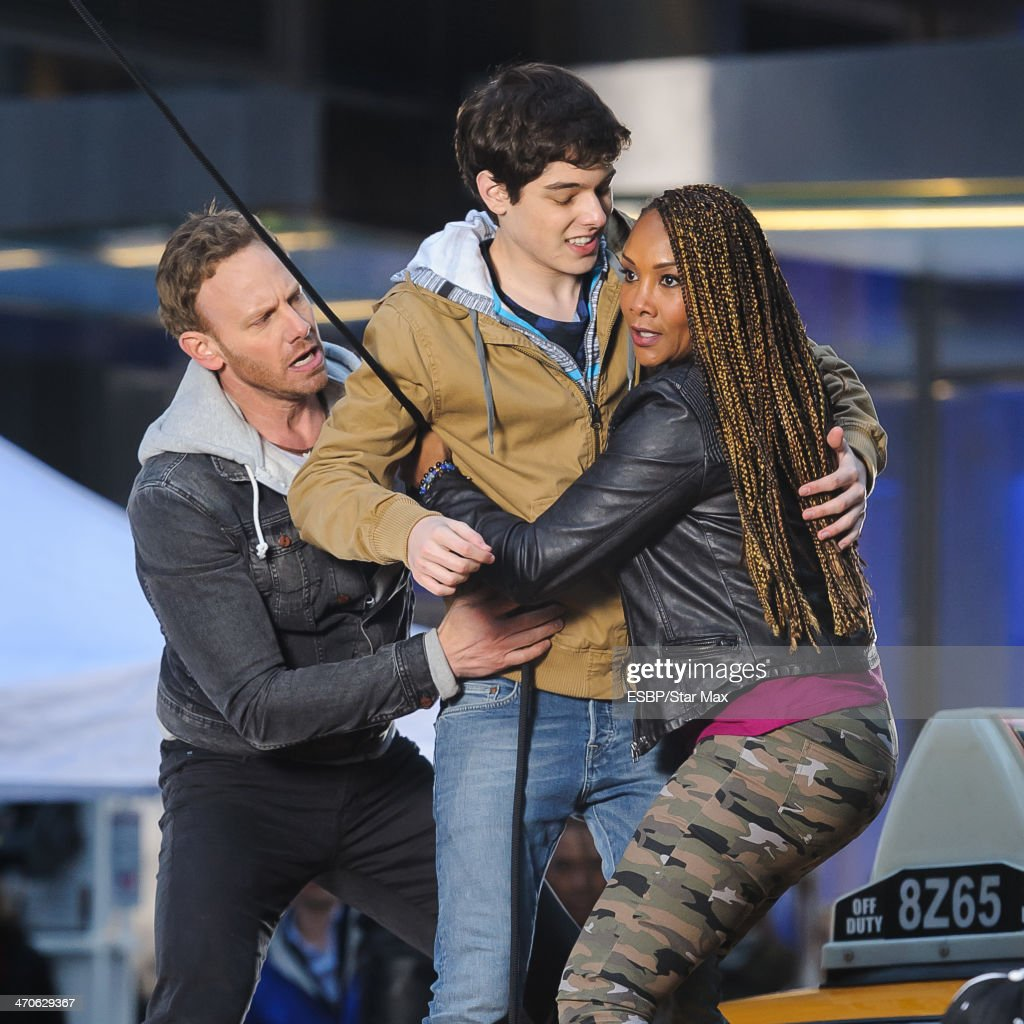 <a gi-track='captionPersonalityLinkClicked' href=/galleries/search?phrase=Ian+Ziering&family=editorial&specificpeople=622264 ng-click='$event.stopPropagation()'>Ian Ziering</a> and Vivica Fox are seen on the set of 'Sharknado 2' on February 19, 2014 in New York City.