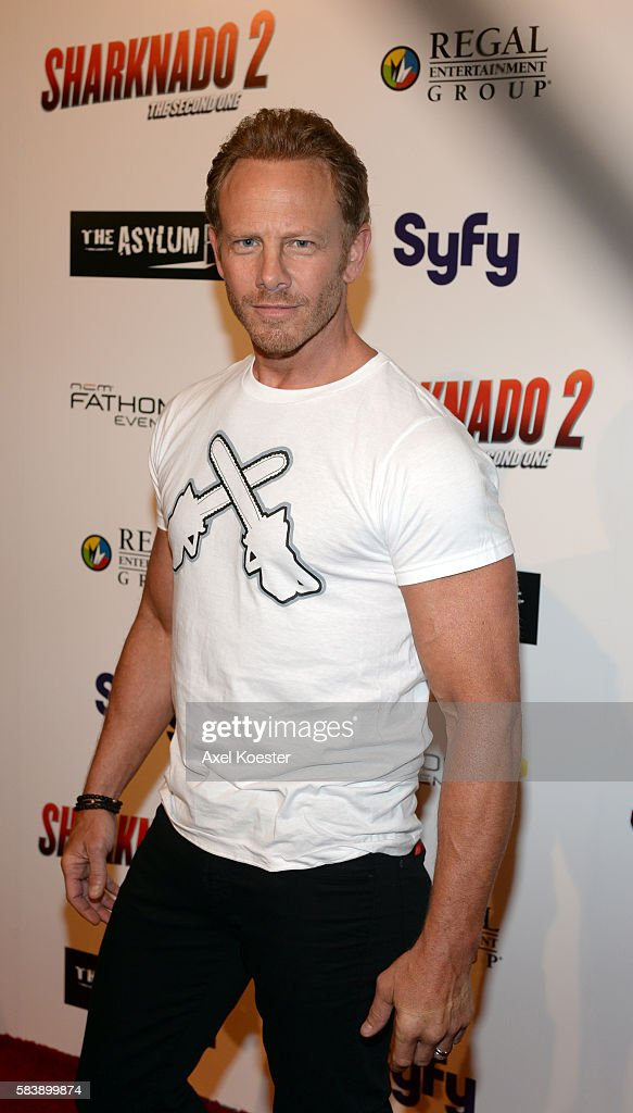 Ian Ziering arrives to the premiere of Sharknado 2 The Second One held at the Regal Cinemas at LA Live Thursday evening
