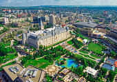 Iasi city view of Culture Palace. Aerial scene, Romania