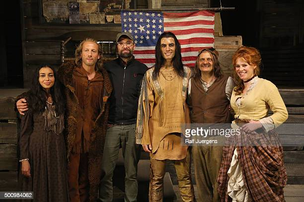 Iazua Larios Wotan Wilke Moehring director Philipp Stoelzl Nik Xhelilaj Milan Peschel and Henny Reents pose during a photo call for the television...