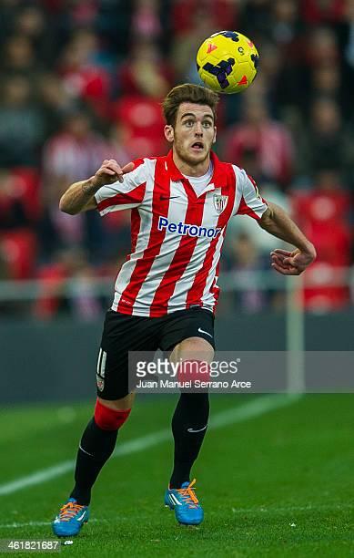 Ibai Gomez of Athletic Club Bilbao controls the ball during the La Liga match between Athletic Club Bilbao and UD Almeria at San Mames Stadium on...