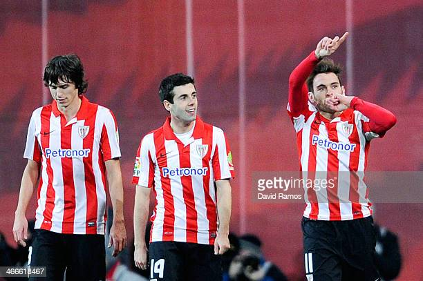 Ibai Gomez of Athletic Club celebrates after scoring his team's first goal during the La Liga match between Athletic Club and Real Madrid CF at San...