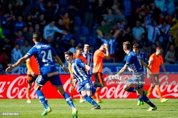 Ibai Gomez of Deportivo Alaves celebrates after scoring goal during the La Liga match between Deportivo Alaves and Valencia CF at Mendizorroza...