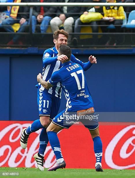 Ibai Gomez of Deportivo Alaves celebrates his goal during the La Liga match between Villarreal CF vs Deportivo Alaves at Estadio El Madrigal...