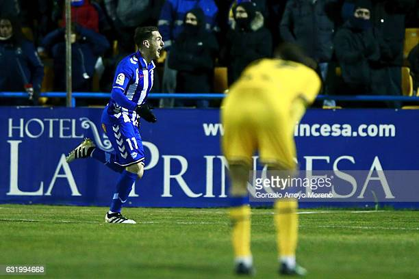 Ibai Gomez of Deportivo Alaves celebrates scoring their opening goal during the Copa del Rey quarterfinal match between Agrupacion Deportivo Alcorcon...
