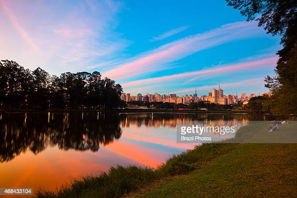 Ibirapuera Park a major urban park with Sao Paulo cityscape in background Brazil