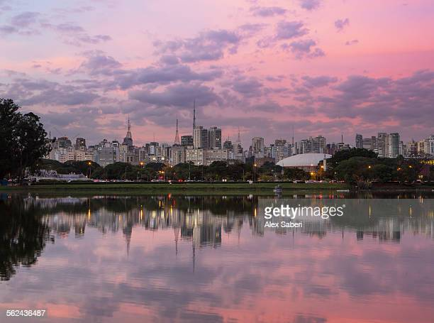 A pink sunset in Ibirapuera park with Sao Paulo cityscape