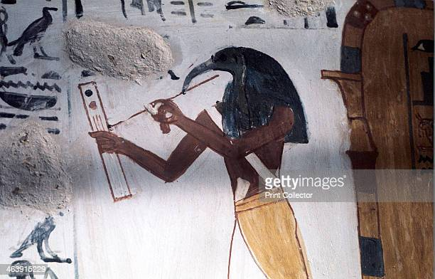 Ibisheaded god Thoth secretary to the gods and patron of scribes Ancient Egyptian Wall painting from the Tombs of the Nobles Thebes Egypt
