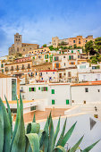 The historic town center (Dalt Vila) and cathedral of Ibiza town under rainy sky