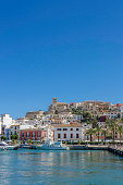 Waterfront at Ibiza old town (Elvissa) on a bright clear sunny summers day