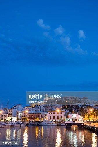 Ibiza old town at dusk, Ibiza, Spain