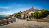 Steps way to old district and fortress of Ibiza. Eivissa, Spain