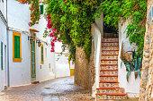Beautiful street scenery in the historic old town of Elvissa (Ibiza Town).