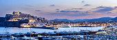 Port Ibiza town at dusk
