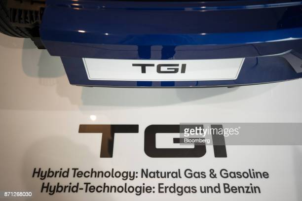 Ibiza TGI hybrid automobile compressed natural gas hybrid automobile sits on display during the Volkswagen AG CNG Mobility Day in Essen Germany on...
