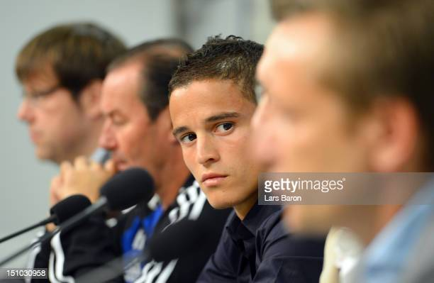 Ibrahim Afellay looks on during a FC Schalke 04 press conference at the Veltins Arena on August 31 2012 in Gelsenkirchen Germany