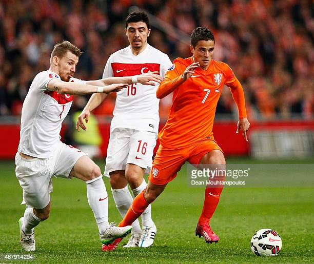 Ibrahim Afellay of Netherlands and Serdar Aziz of Turkey batle for the ball during the UEFA EURO 2016 qualifier match bewteen the Netherlands and...